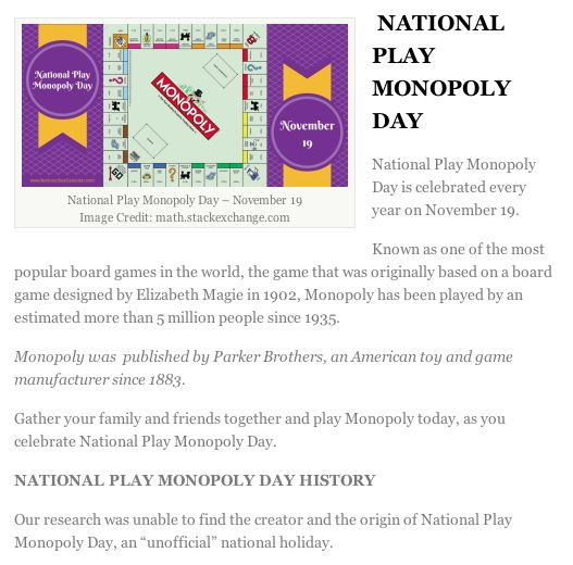 world monopoly day