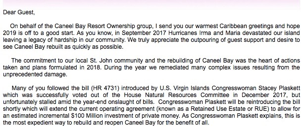 Caneel Letter to Guests
