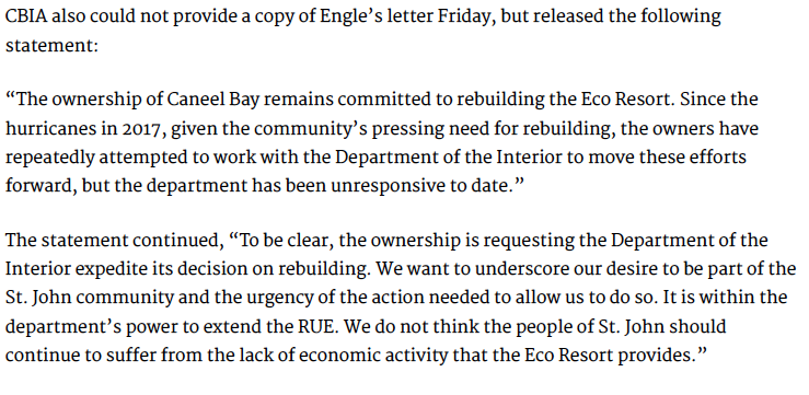Statement from Engel to the VI Daily News, June 2019
