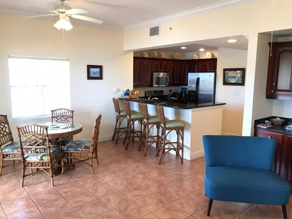 The dining and kitchen areas at the Ocean View unit