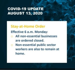 "Territory Reverts Back to ""Stay at Home' Phase this Monday 1"